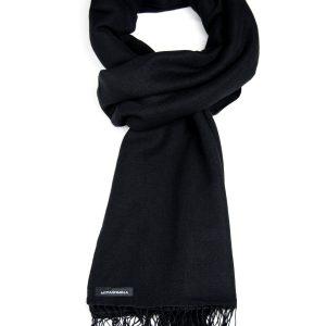 Pashmina Large Scarf - 45x200cm - 100% Cashmere - Black