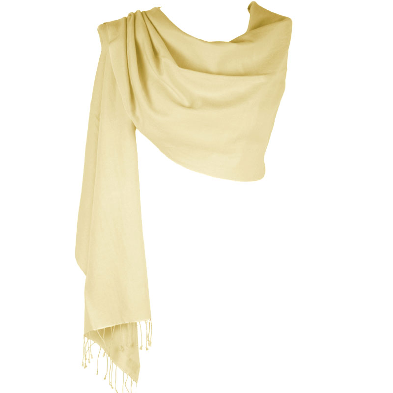 Pashmina Large Scarf - 45x200cm - 100% Cashmere - Winter White