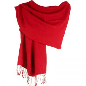 Pashmina Large Scarf - 45x200cm - 100% Cashmere - Bright Red
