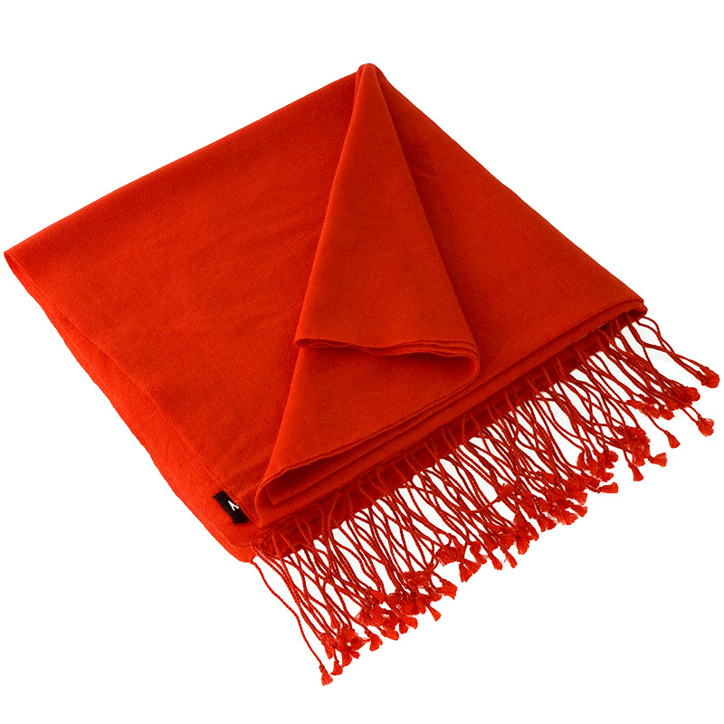 Pashmina Large Scarf - 45x200cm - 100% Cashmere - Spicy Orange