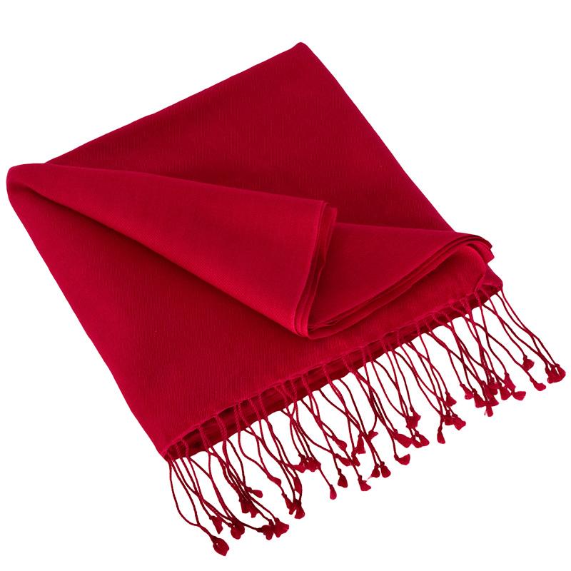 Pashmina Large Scarf - 45x200cm - 100% Cashmere - Crimson