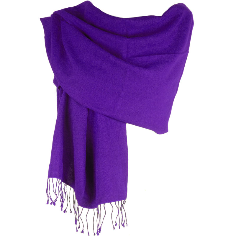 Pashmina Large Scarf - 45x200cm - 100% Cashmere - Grape Royale