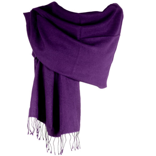Pashmina Large Scarf - 45x200cm - 100% Cashmere - Blackberry Cordial