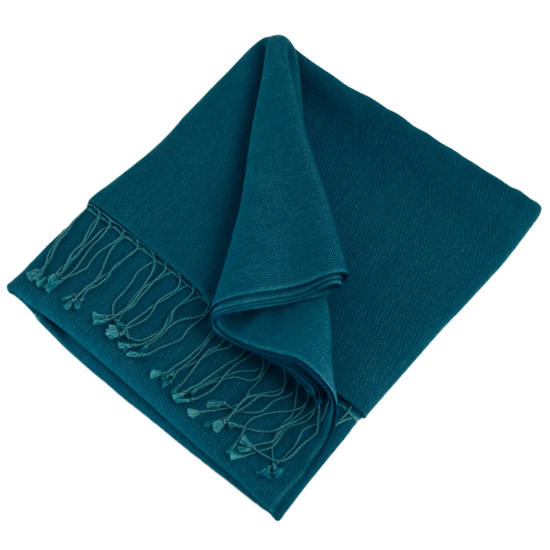 Pashmina Large Scarf - 45x200cm - 100% Cashmere - Deep Water