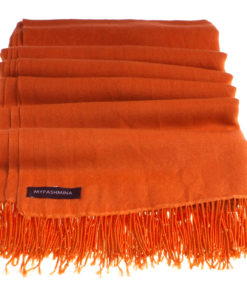 Pashmina Stole With Beaded Tassels - 70x200cm - Spicy Orange