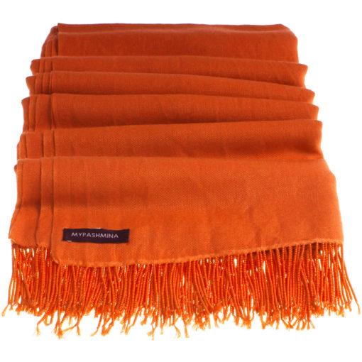 Pashmina Stole With Beaded Tassels - 70x200cm - Spicy Orange