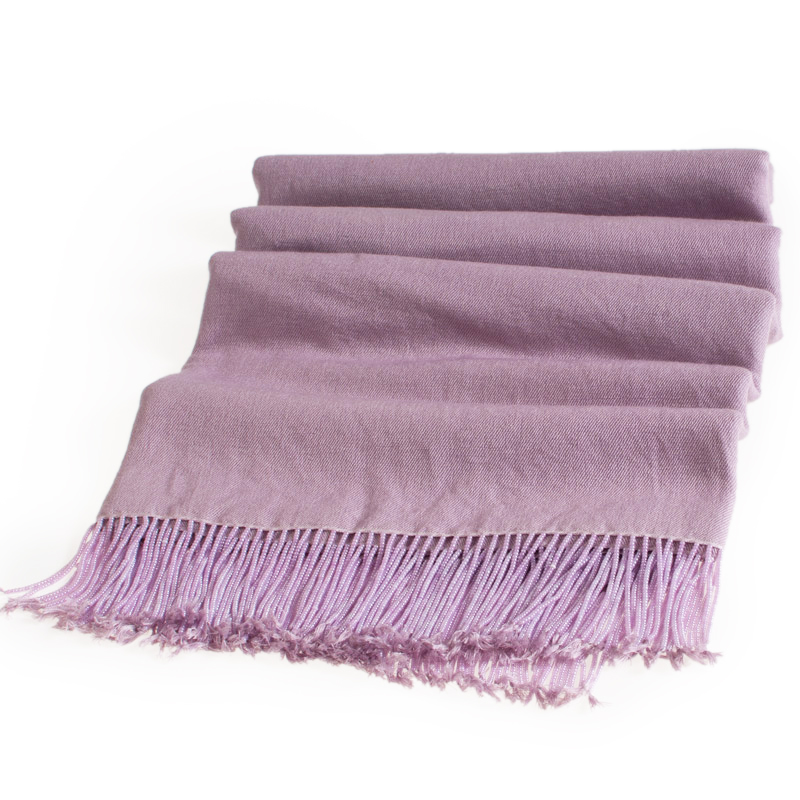 Pashmina Stole With Beaded Tassels - 70x200cm - Wood Rose