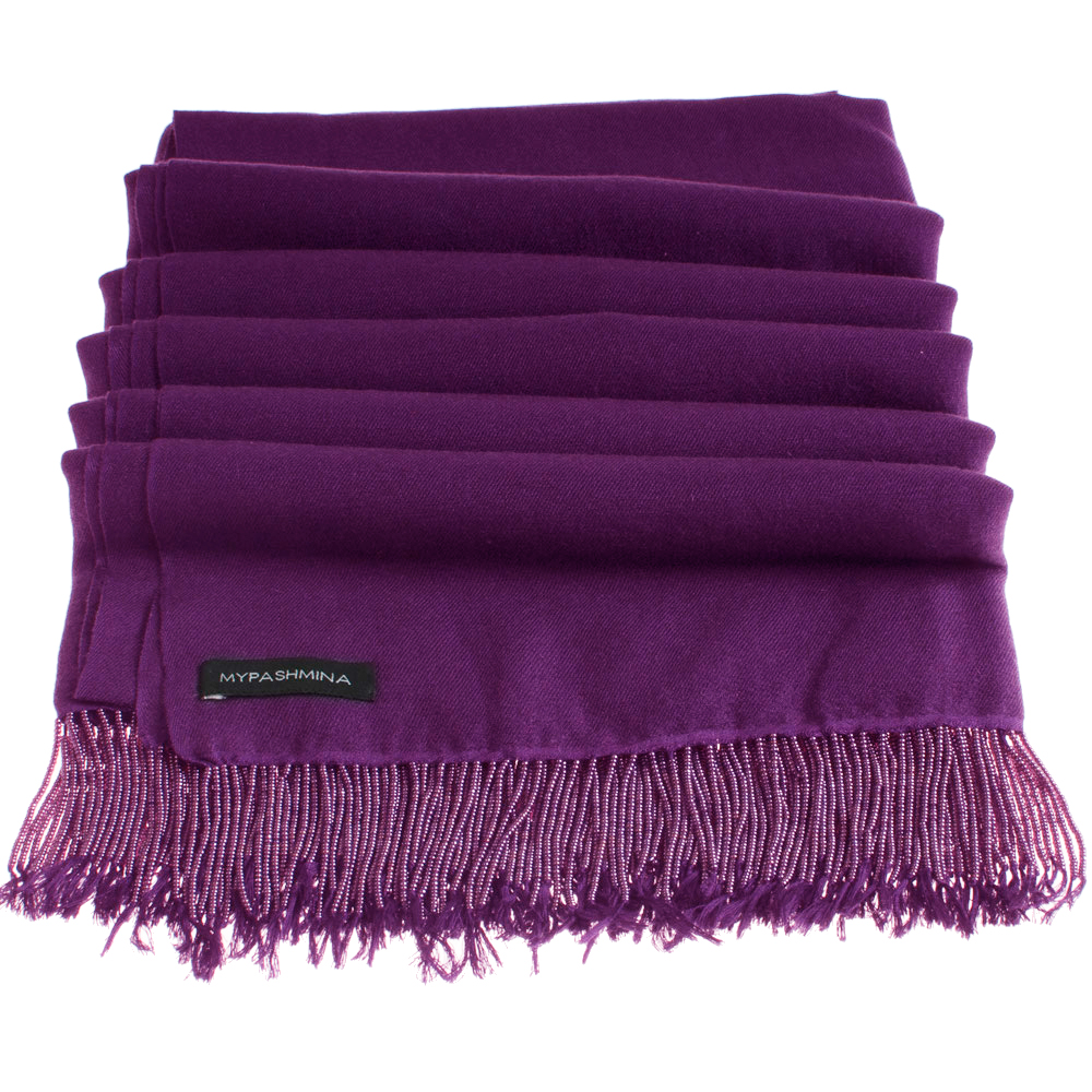 Pashmina Stole With Beaded Tassels - 70x200cm - Nightshade