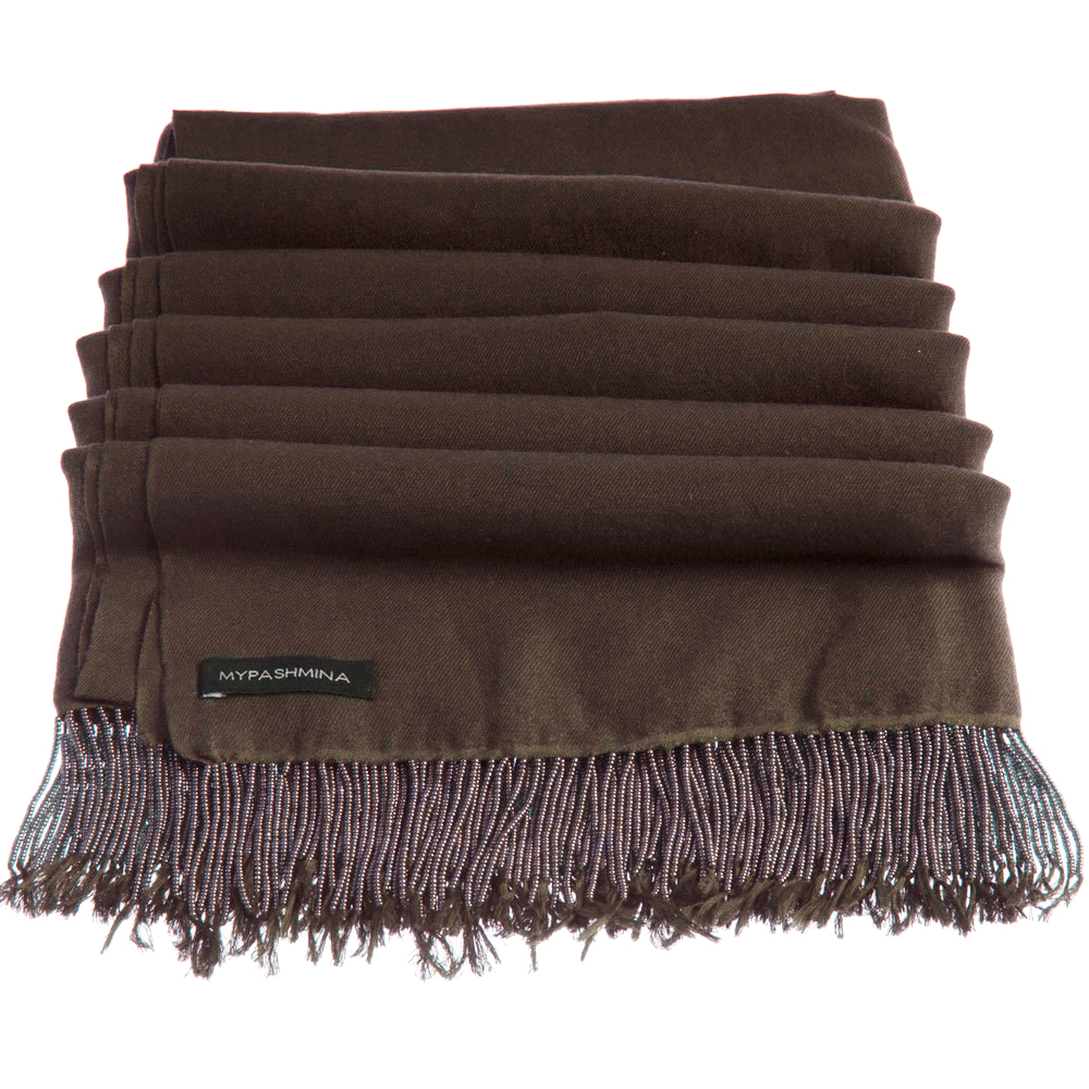 Pashmina Stole With Beaded Tassels - 70x200cm - Sepia