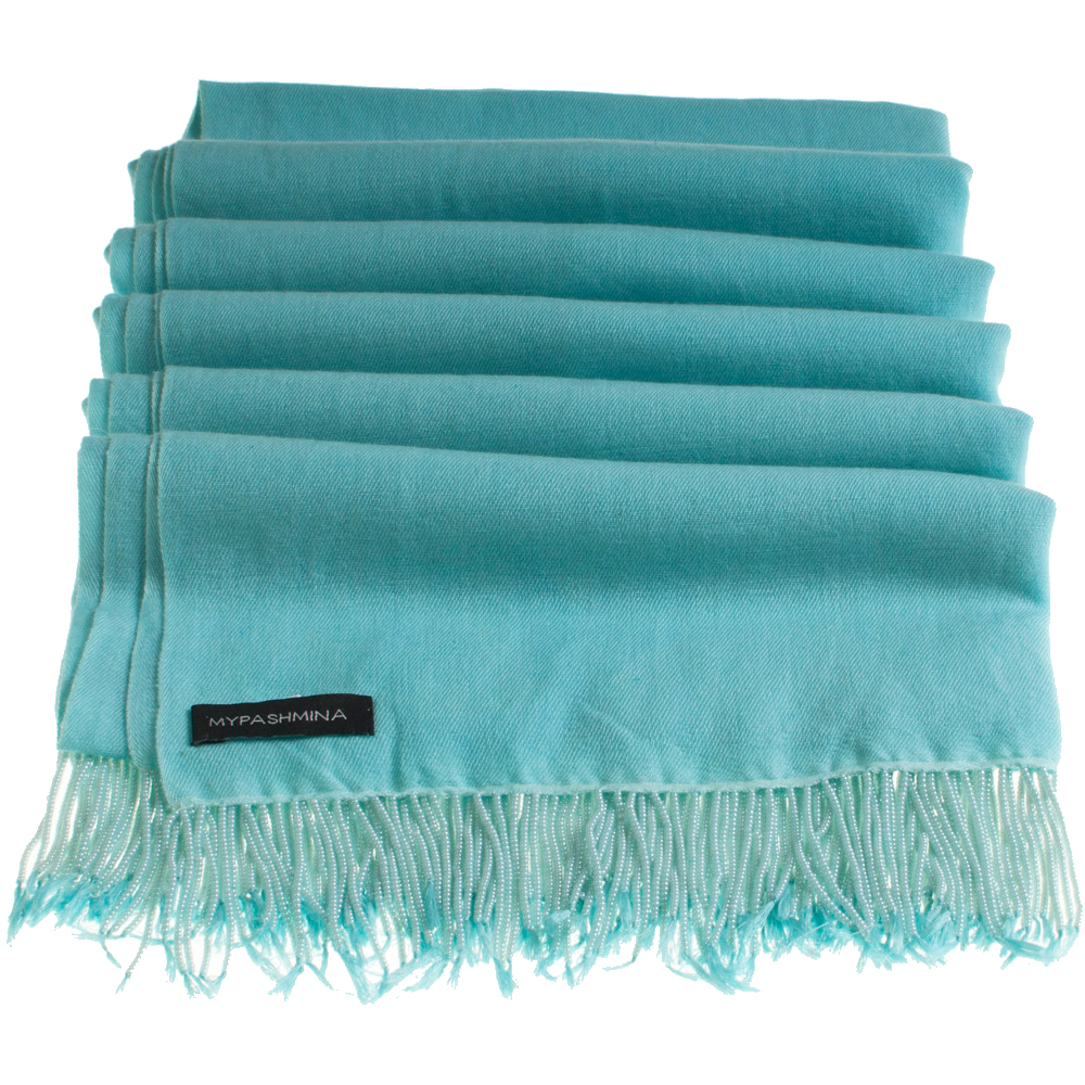Pashmina Stole With Beaded Tassels - 70x200cm - Aqua Sky