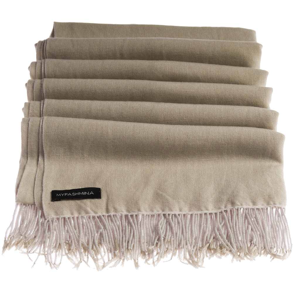 Pashmina Stole With Beaded Tassels - 70x200cm - Dune