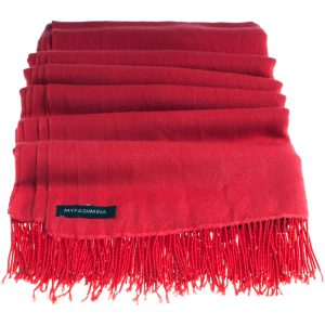 Pashmina Stole With Beaded Tassels - 70x200cm - Rio Red
