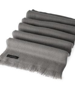 Open Fringe Pashmina Scarf - 45x200cm - 100% Cashmere - Steeple Grey