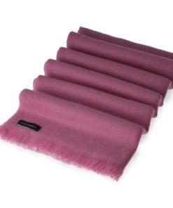 Open Fringe Pashmina Scarf - 45x200cm - 100% Cashmere - Red Violet