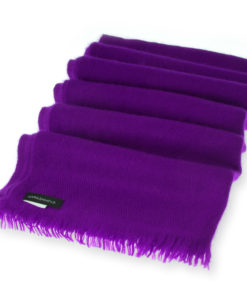 Open Fringe Pashmina Scarf - 45x200cm - 100% Cashmere - Grape Royale