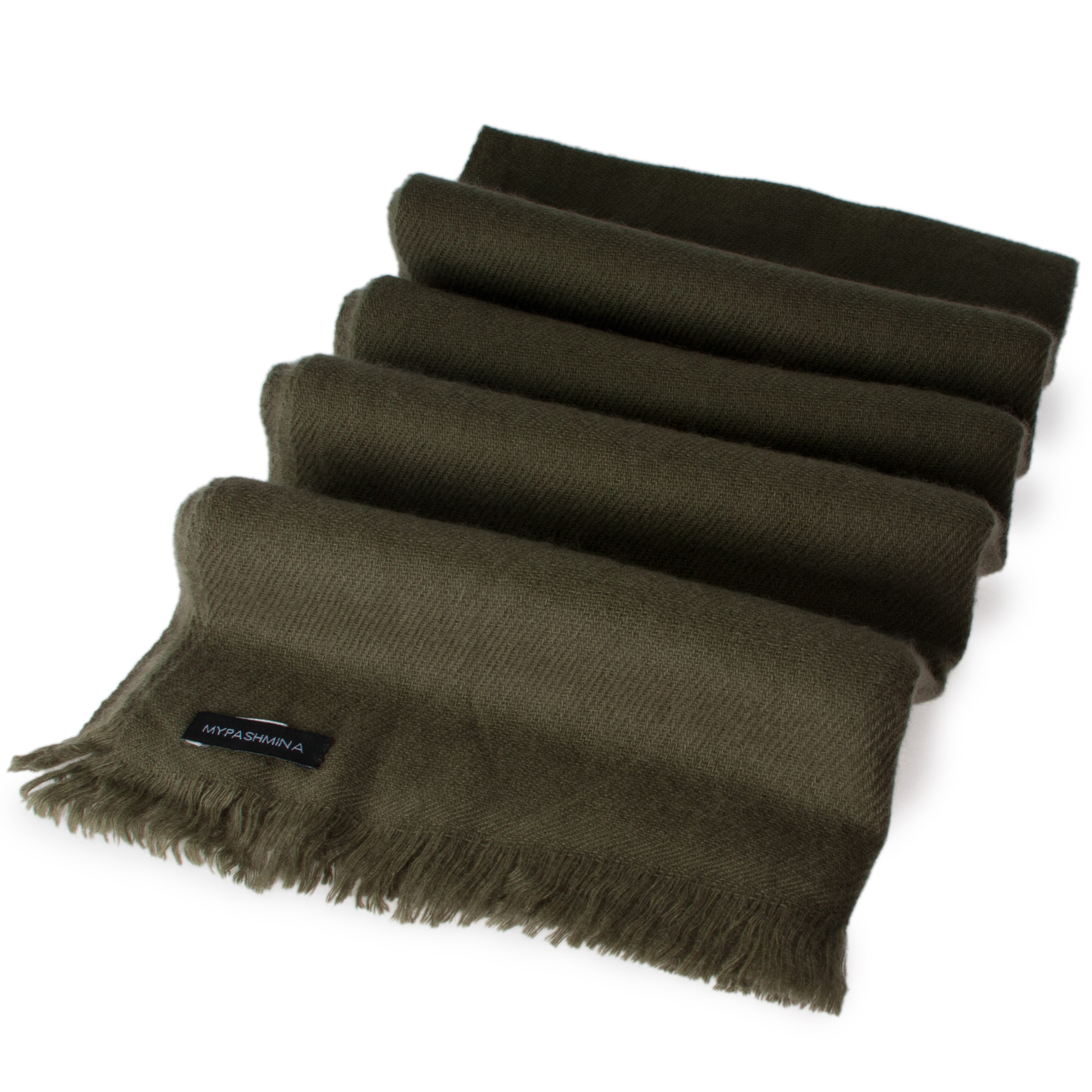 Open Fringe Pashmina Scarf - 45x200cm - 100% Cashmere - Grape Leaf