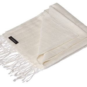 Jacquard Water Pashmina - 45x200cm - 80% Cashmere / 20% Silk - Natural White