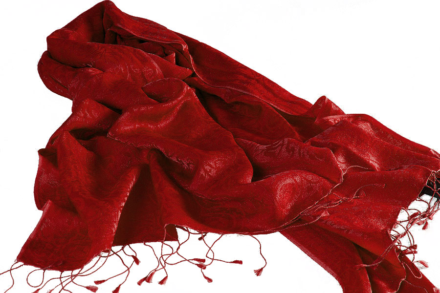 Jacquard Water Pashmina - 70x200cm - 80% Cashmere / 20% Silk - Wonder Red