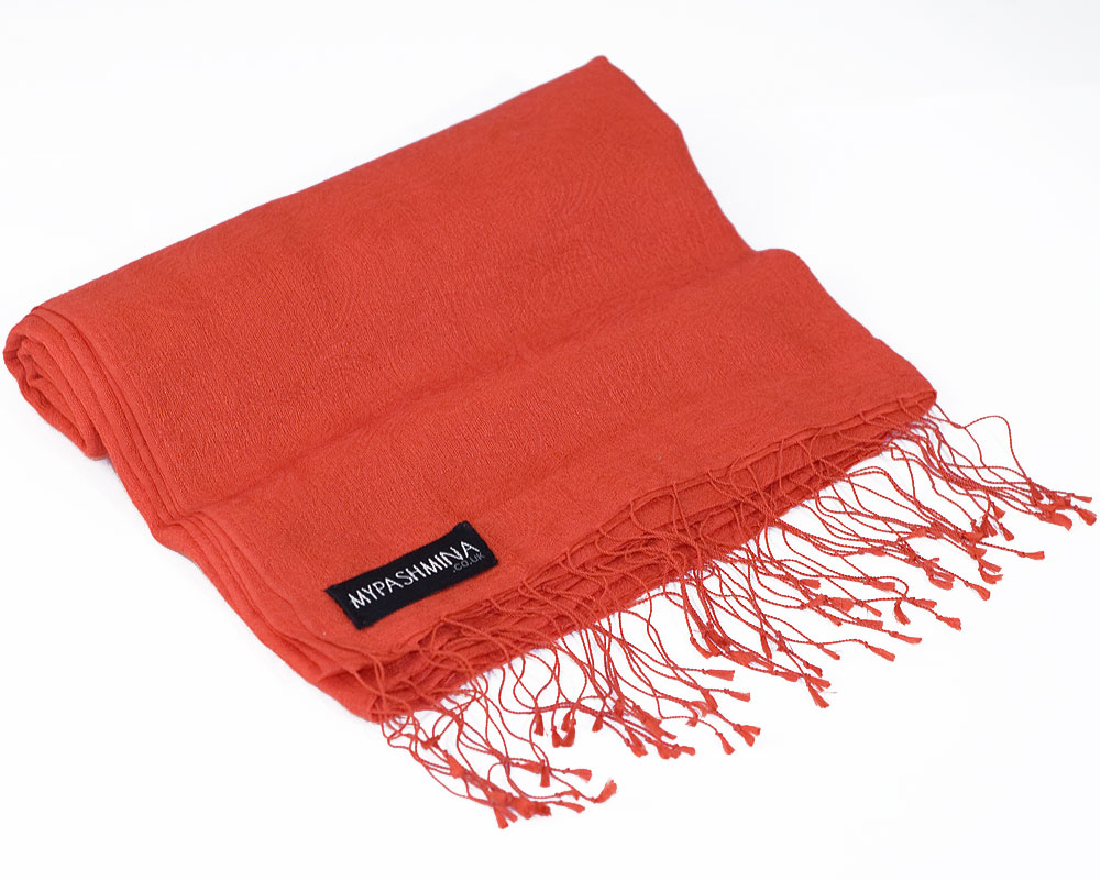 Jacquard Water Pashmina - 70x200cm - 80% Cashmere / 20% Silk - Spicy Orange