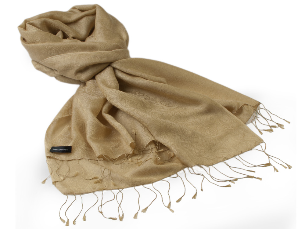 Jacquard Water Pashmina - 70x200cm - 80% Cashmere / 20% Silk - Antique Bronze