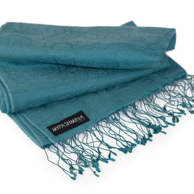 Jacquard Water Pashmina - 70x200cm - 80% Cashmere / 20% Silk - North Sea