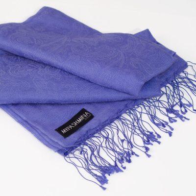 Jacquard Water Pashmina - 70x200cm - 80% Cashmere / 20% Silk - Blue Iris