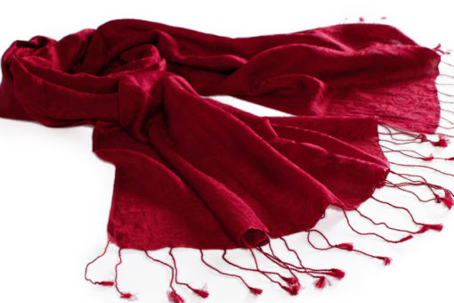 Jacquard Water Pashmina - 70x200cm - 80% Cashmere / 20% Silk - Rio Red