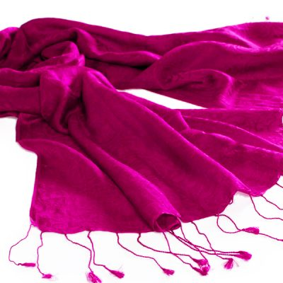 Jacquard Water Pashmina - 45x200cm - 80% Cashmere / 20% Silk - Very Berry