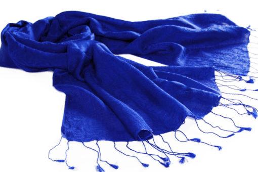 Jacquard Water Pashmina - 70x200cm - 80% Cashmere / 20% Silk - Brilliant Blue