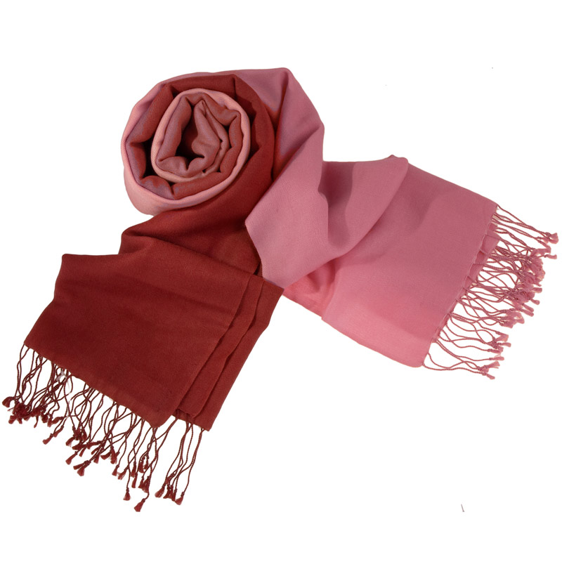 Shaded Pashmina - 70x200cm - 70%Cashmere / 30%Silk - Wild Ginger and Quartz Pink