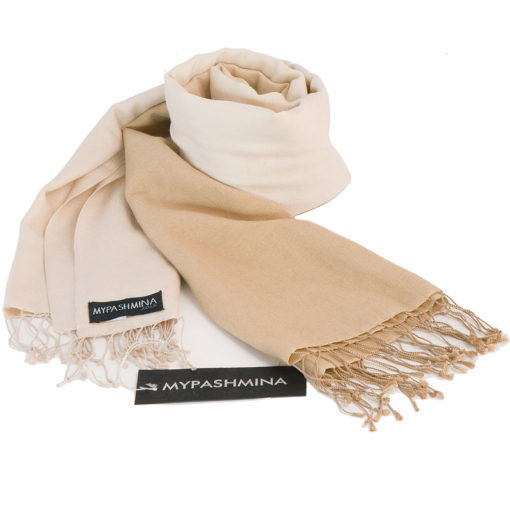 Shaded Pashmina - 70x200cm - 70%Cashmere / 30%Silk - Candied Ginger and Sandshell