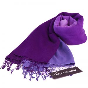 Shaded Pashmina - 70x200cm - 70%Cashmere / 30%Silk - Blackberry Cordial and Heron