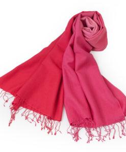 Shaded Pashmina - 70x200cm - 70%Cashmere / 30%Silk - Bright Rose and Crimson