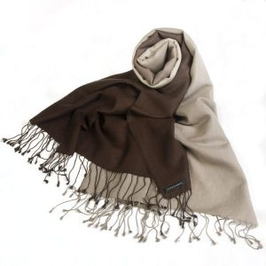 Shaded Pashmina - 70x200cm - 70%Cashmere / 30%Silk - Coffee Bean and Cobblestone