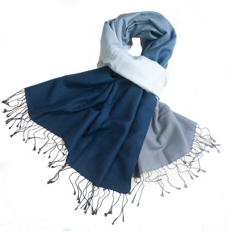 Shaded Pashmina - 70x200cm - 70%Cashmere / 30%Silk - Insignia Blue and Folkstone Grey