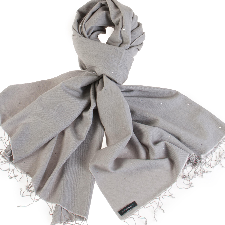 Swarovski Crystals Pashmina Stole - 70x200cm - 70% Cashmere / 30% Silk -  Steeple Grey