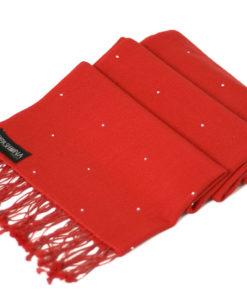 Swarovski Crystals Pashmina Stole - 70x200cm - 70% Cashmere / 30% Silk -  Fiery Red