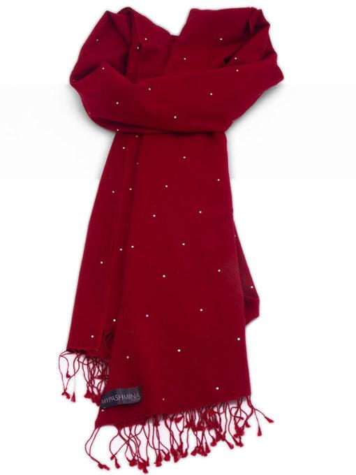 Swarovski Crystals Pashmina Stole - 70x200cm - 70% Cashmere / 30% Silk -  Rio Red