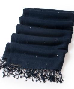 Swarovski Crystals Pashmina Stole - 70x200cm - 70% Cashmere / 30% Silk -  Dark Navy
