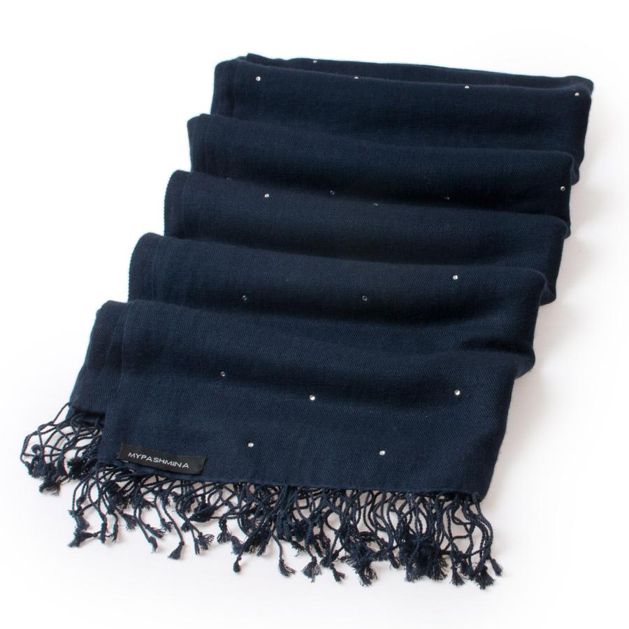 483d495d03 Swarovski Crystals Pashmina Stole – 70x200cm – 70% Cashmere   30% Silk –  Dark Navy