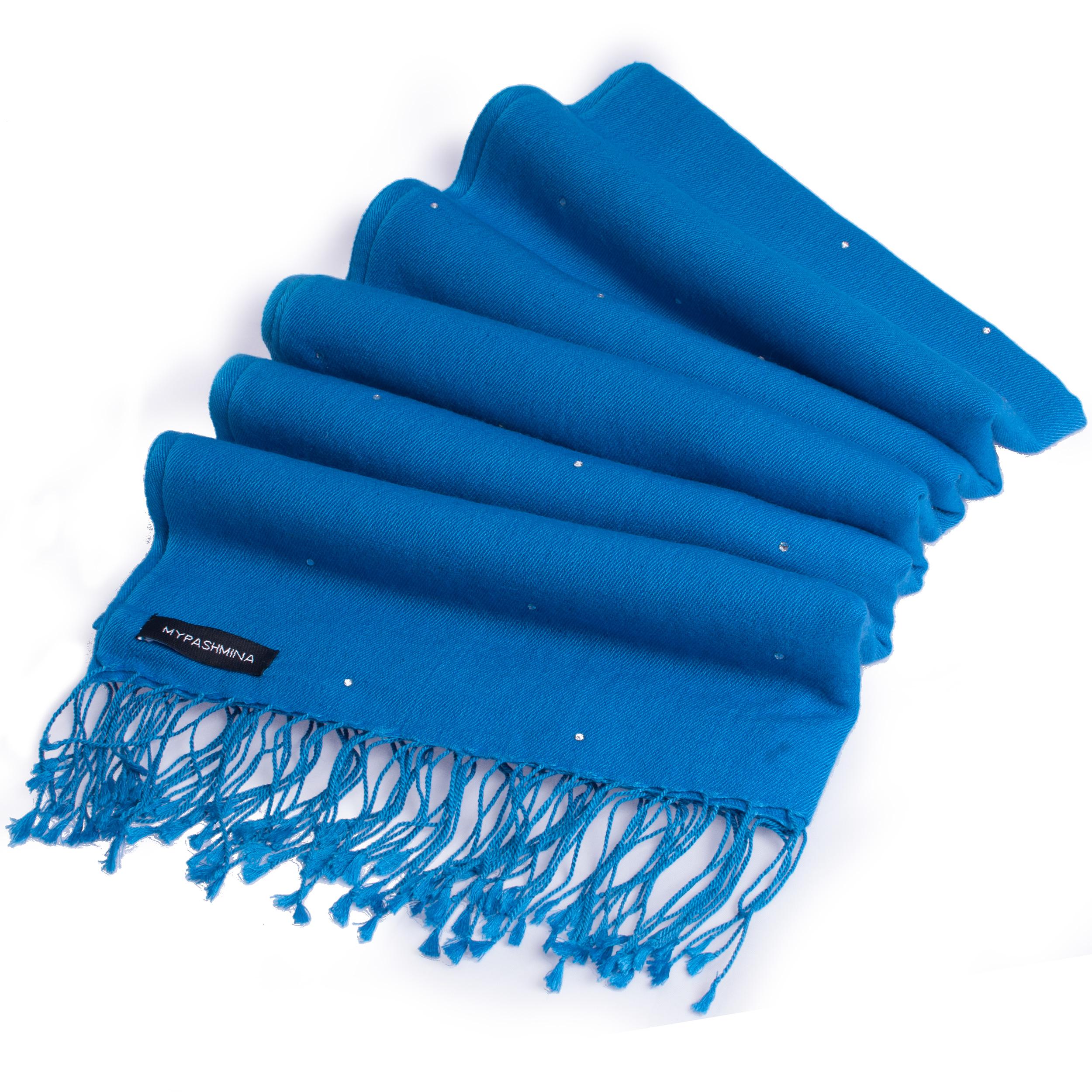 Swarovski Crystals Pashmina Stole - 70x200cm - 70% Cashmere / 30% Silk -  Brilliant Blue