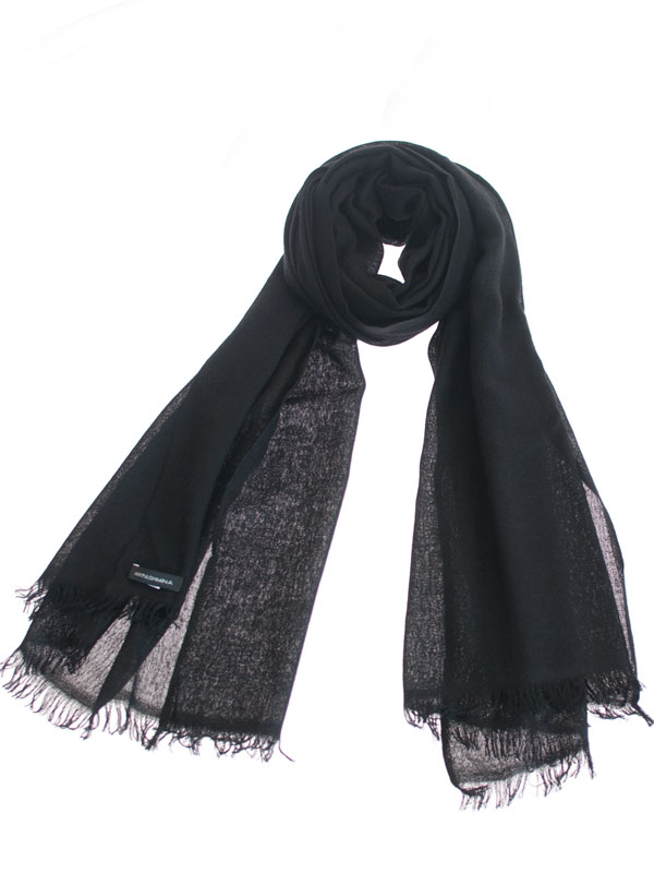 Pashmina Ring Stole - 70x200cm - No Tassels - Black mp09