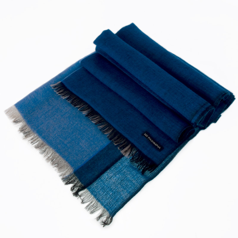 Pashmina - Superfine100count - 100% Cashmere - 50x180cm - Strong Blue
