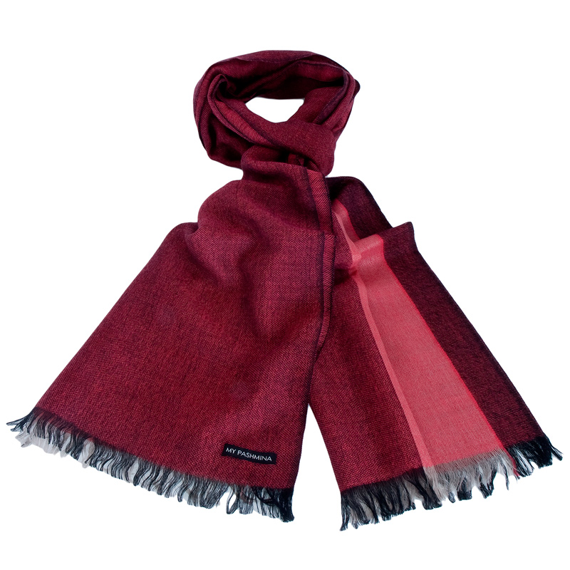 Pashmina - Superfine100count - 100% Cashmere - 50x180cm - Pink/Red