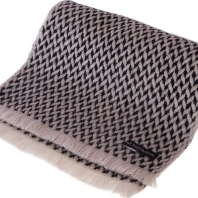 Herringbone Scarf - 25x160cm - 100% Cashmere - Black and White