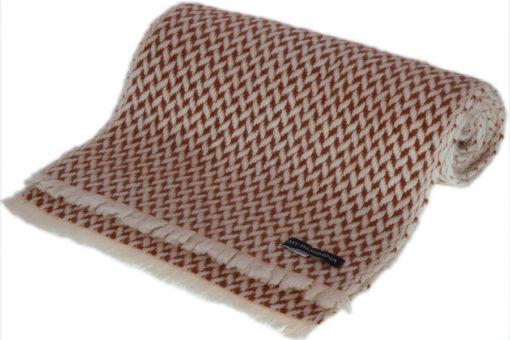 Herringbone Scarf - 25x160cm - 100% Cashmere - White and Gingerbread