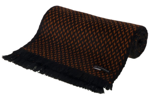 Herringbone Scarf - 25x160cm - 100% Cashmere - Black and Gingerbread