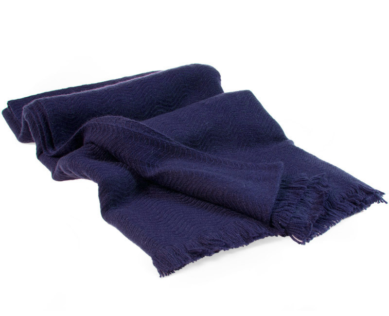 Winter Weight Wavy Shawl - Dark Navy