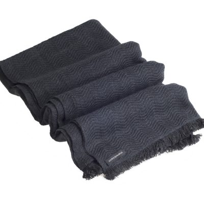 Winter Weight Wavy Shawl - Melange Dark Grey