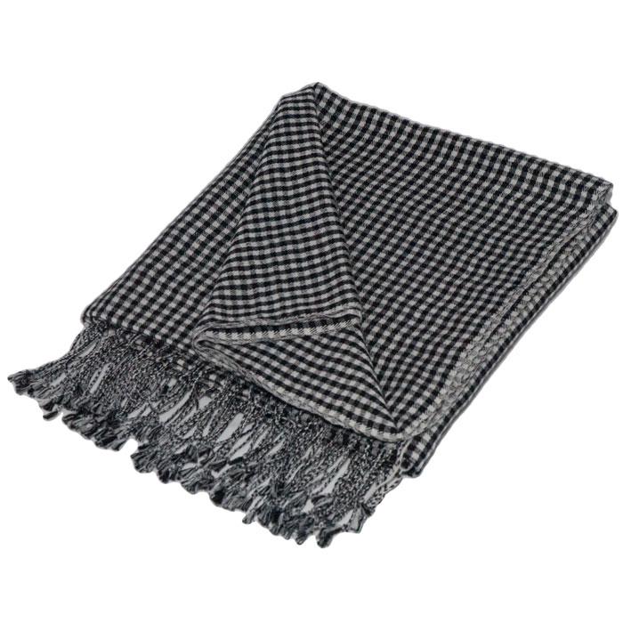 Gingham pashmina - 70% Cashmere / 30% Silk